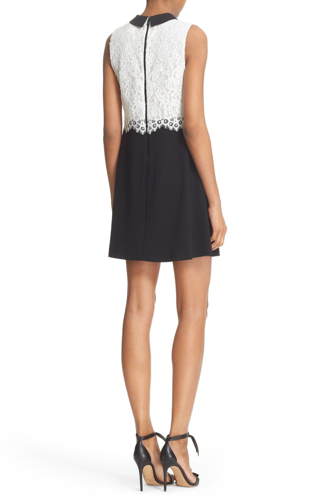 Alternate Image 2  - Alice + Olivia 'Desra' Two-Tone Lace Bodice Minidress