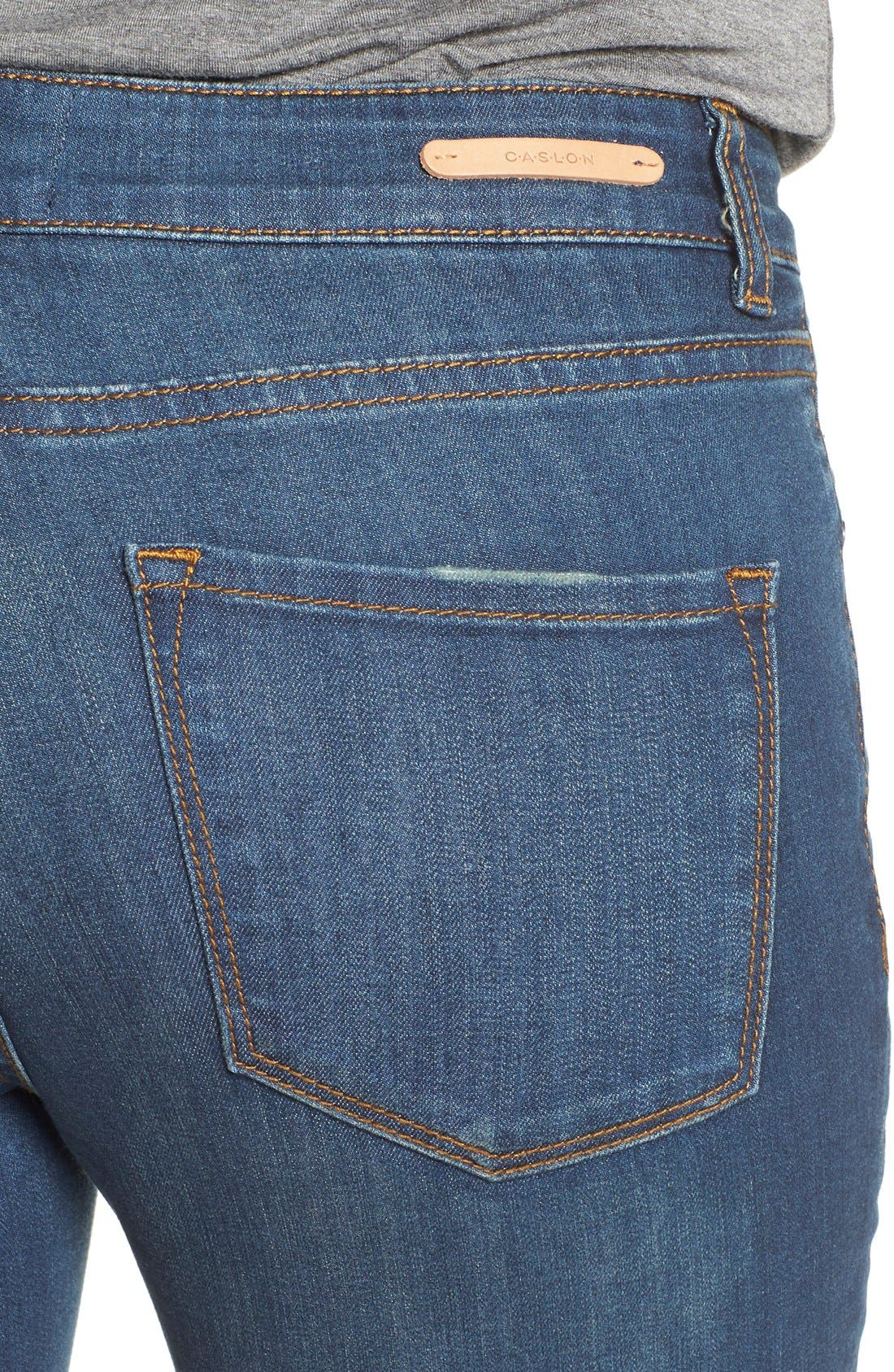 Alternate Image 4  - Caslon® Stretch Skinny Ankle Jeans (Midnight) (Regular & Petite)