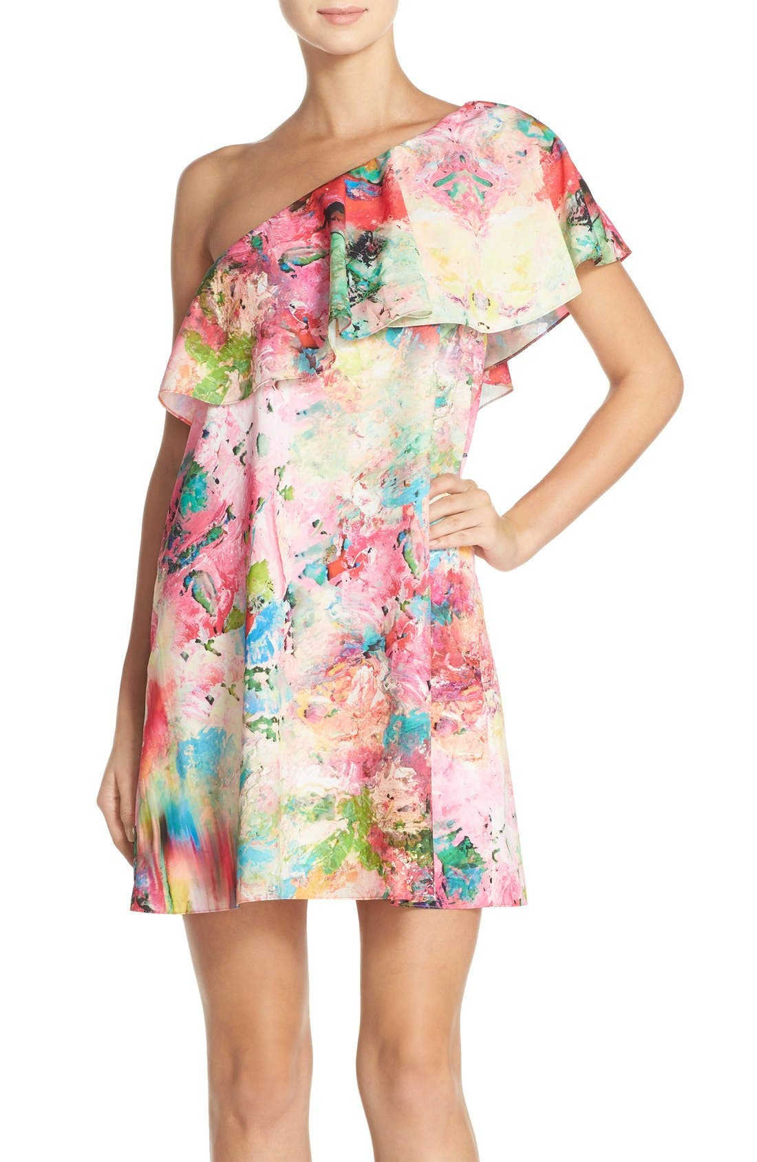Main Image - A by Amanda 'Zoe' Floral Print One Shoulder Dress