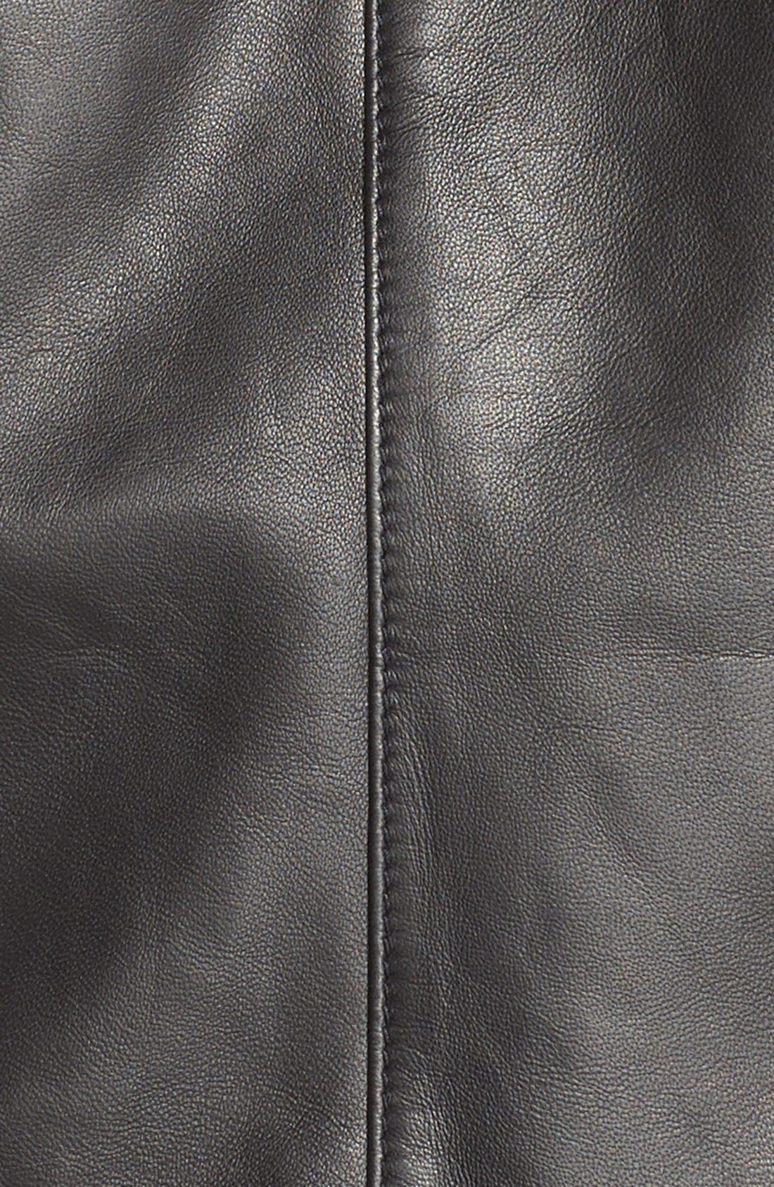 Alternate Image 6  - Sejour Drape Collar Leather Jacket (Plus Size)