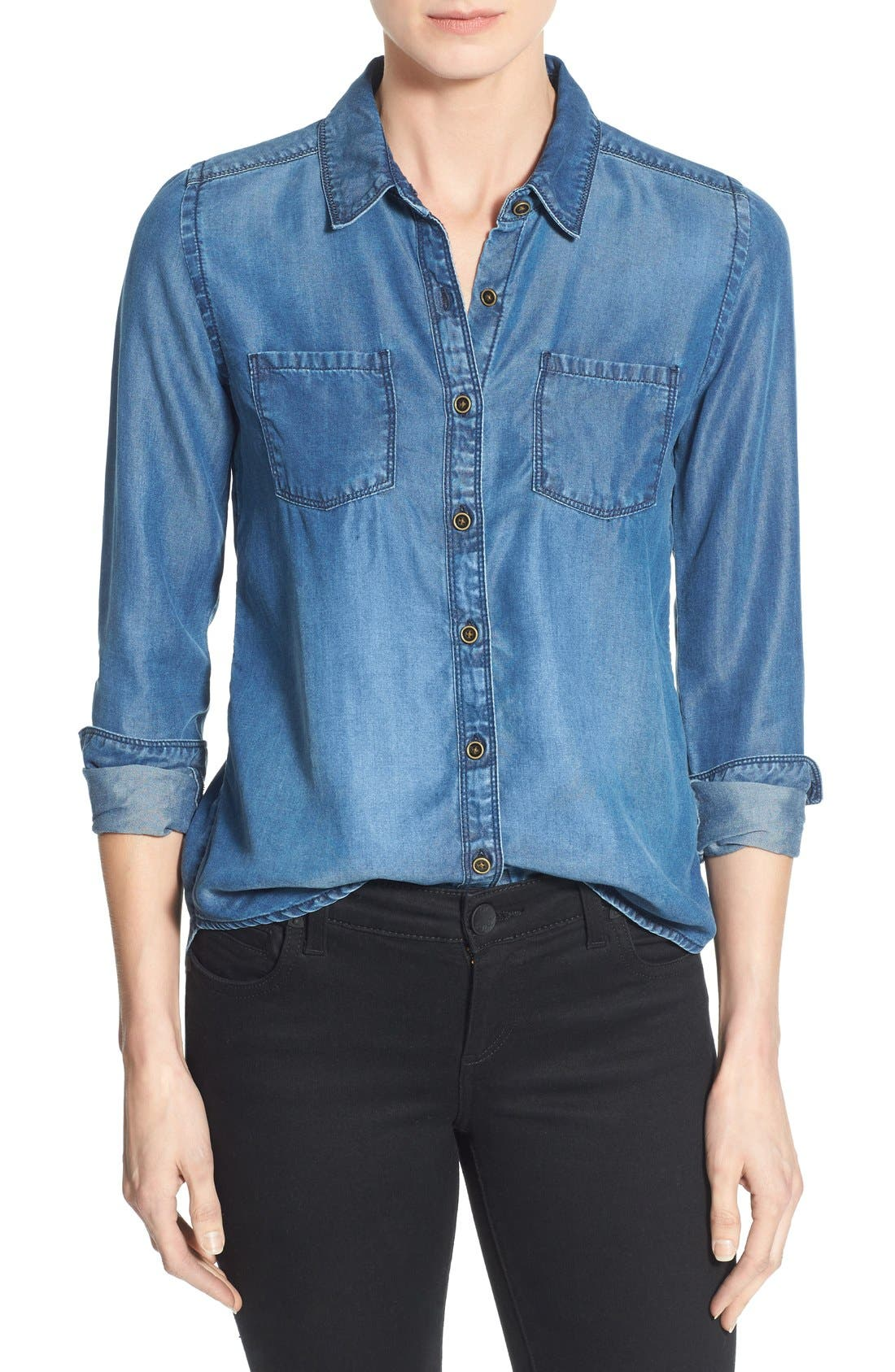Caslon® Long Sleeve Denim Shirt (Regular & Petite)