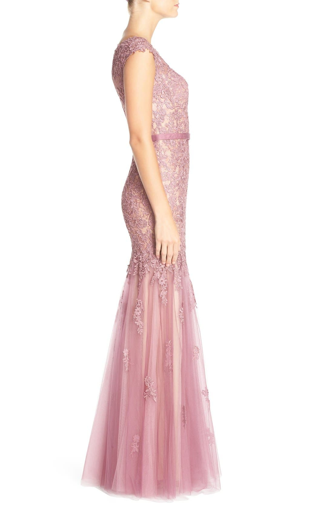 Alternate Image 3  - La Femme Lace & Tulle Mermaid Gown