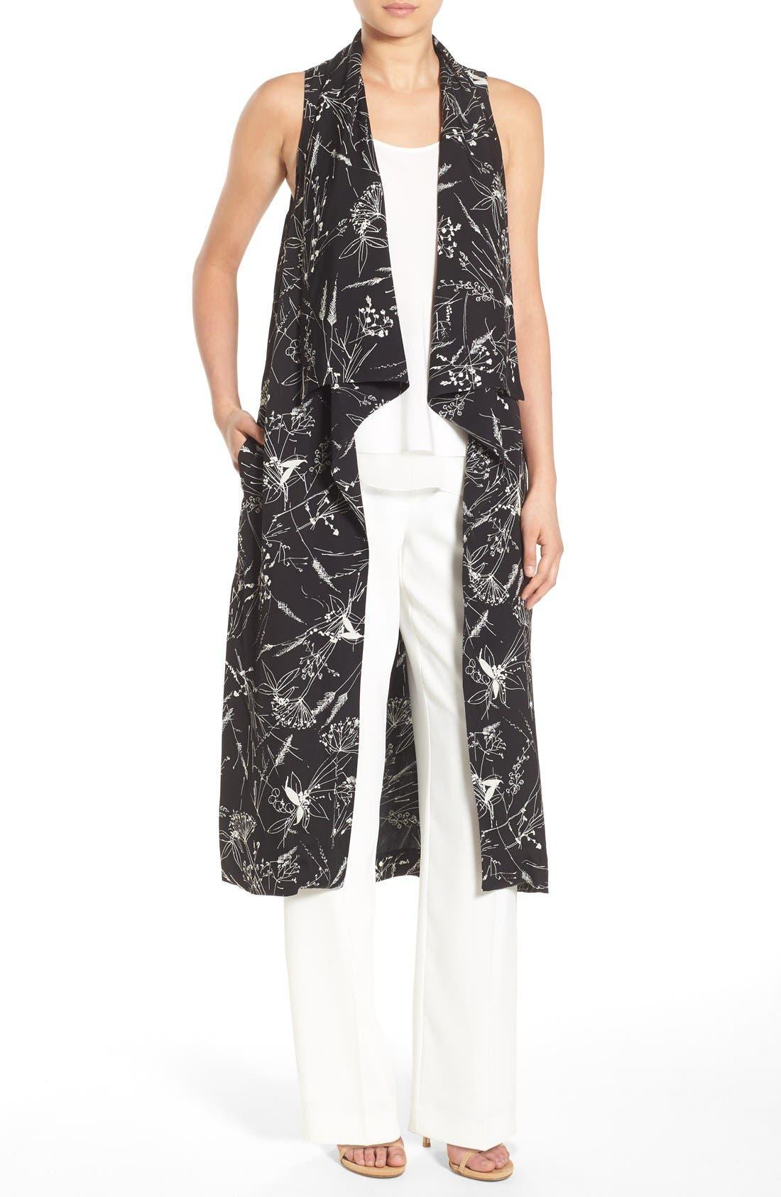 Main Image - Olivia Palermo + Chelsea28 Floral Print Long Vest