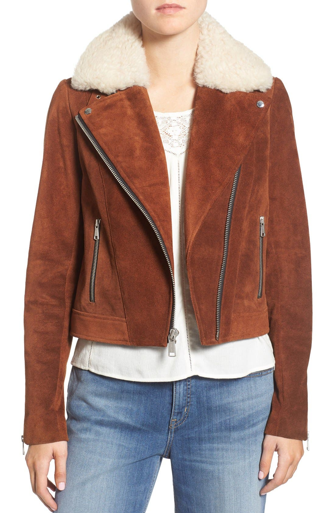 Alternate Image 1 Selected - Andrew Marc Suede Jacket with Genuine Shearling Collar