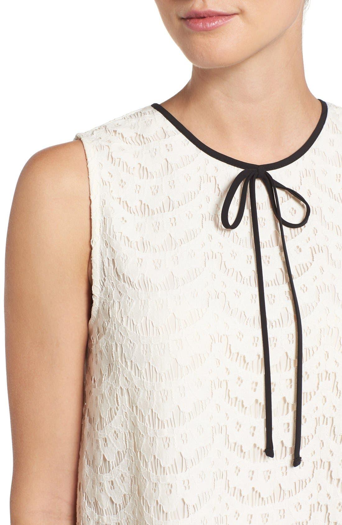 Alternate Image 4  - Vince Camuto Tie Neck Lace Shell (Regular & Petite)