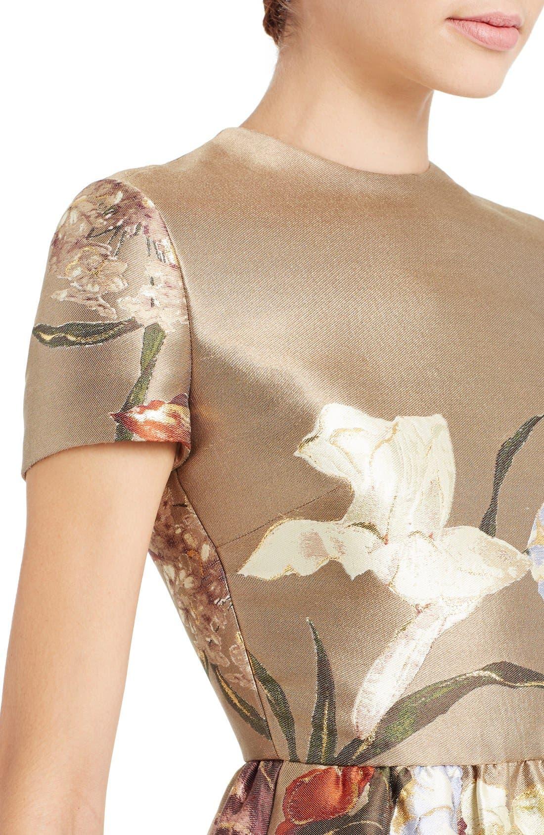 Alternate Image 5  - Valentino Kimono Floral Silk Blend Jacquard Dress