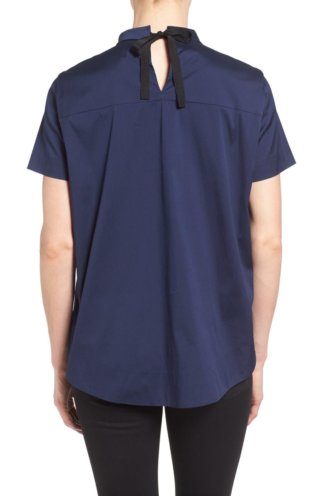 Alternate Image 1 Selected - Halogen® Tie Back Short Sleeve Poplin Blouse (Regular & Petite)