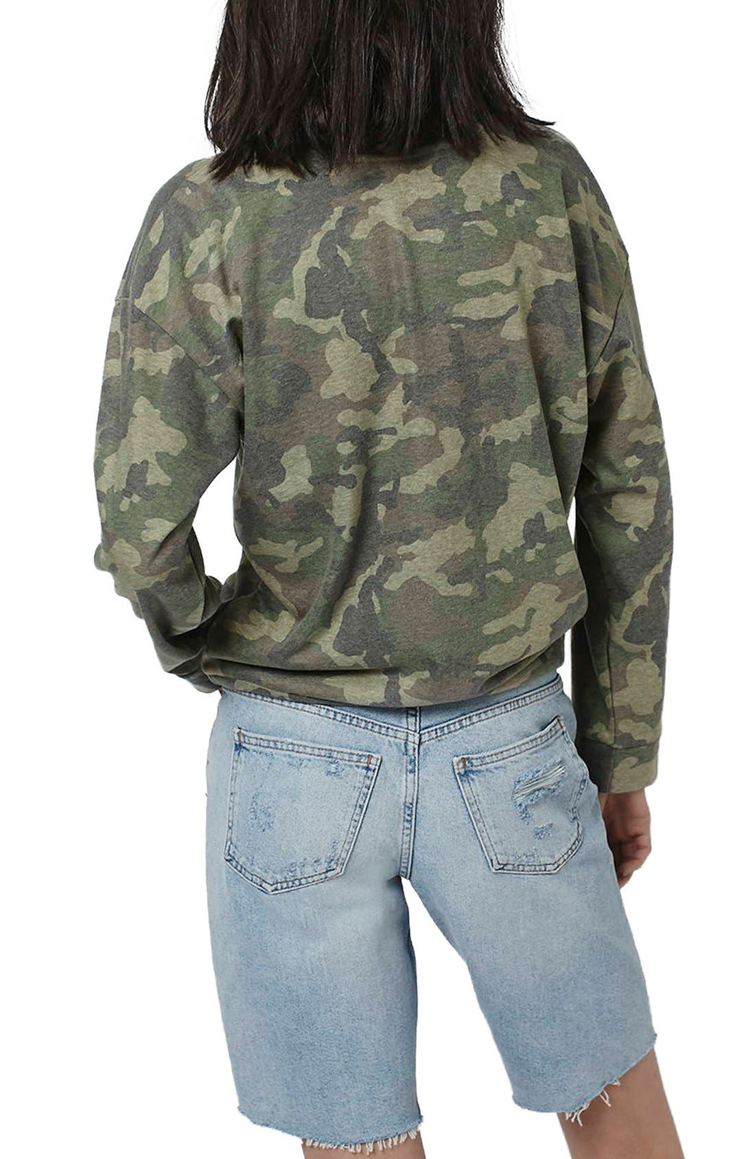 Alternate Image 3  - Topshop Camo Print Patch Sweatshirt
