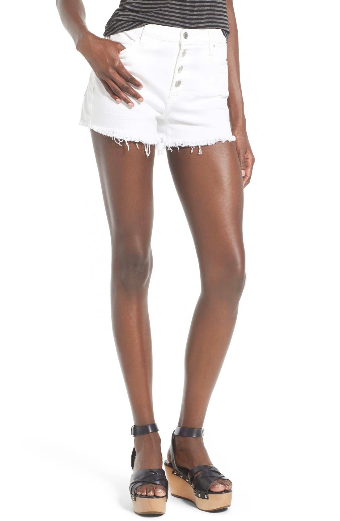 Alternate Image 1 Selected - BLANKNYC High Rise Cutoff Denim Shorts (White Broney)