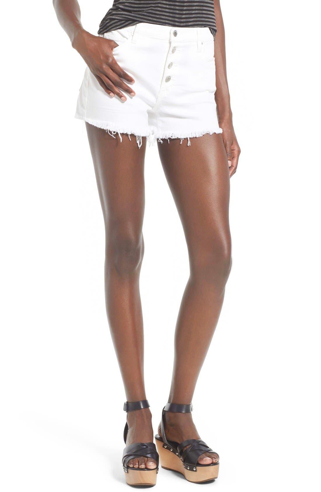 Main Image - BLANKNYC High Rise Cutoff Denim Shorts (White Broney)