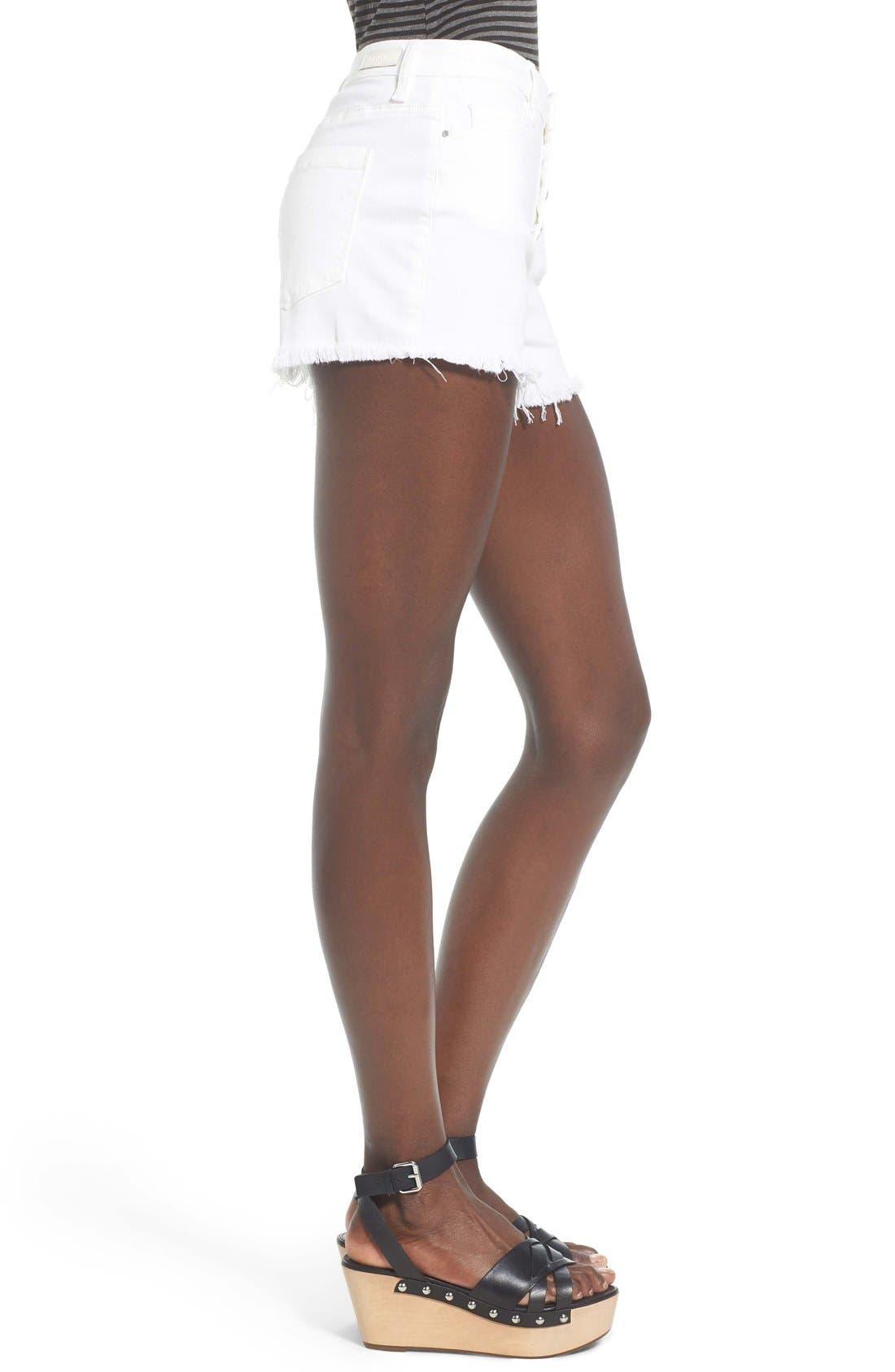 Alternate Image 3  - BLANKNYC High Rise Cutoff Denim Shorts (White Broney)