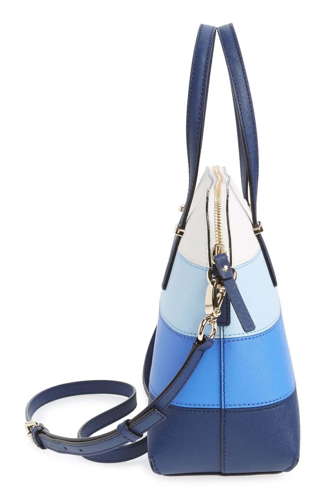 Alternate Image 4  - kate spade new york 'cedar street - stripe maise' colorblock crosshatch leather satchel