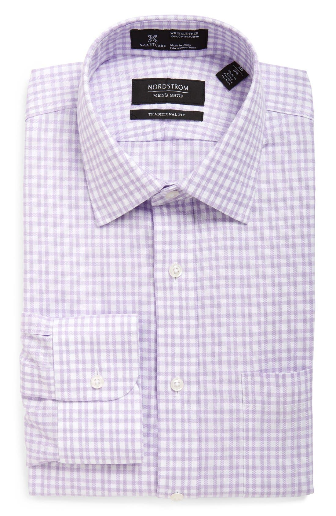 NORDSTROM MEN'S SHOP Smartcare™ Traditional Fit Plaid Dress