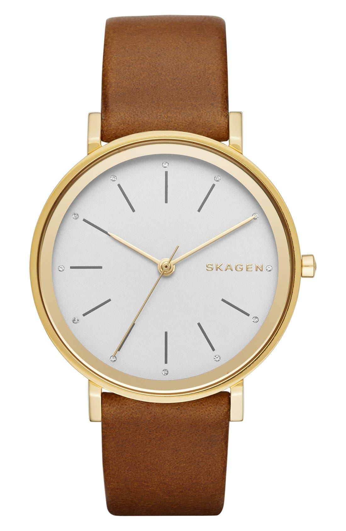 Alternate Image 1 Selected - Skagen 'Hald' Round Leather Strap Watch, 34mm