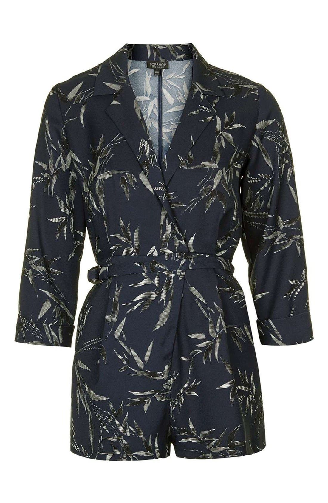 Alternate Image 4  - Topshop 'Alexa' Three-Quarter Sleeve Leaf Romper