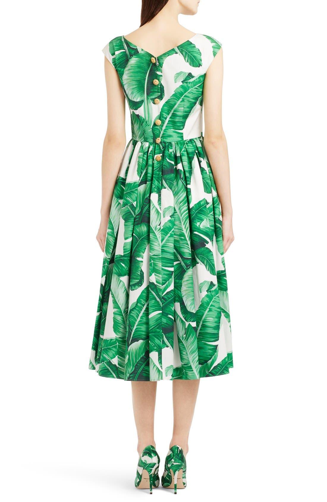 Alternate Image 2  - Dolce&Gabbana Banana Leaf Print Cotton Poplin Dress