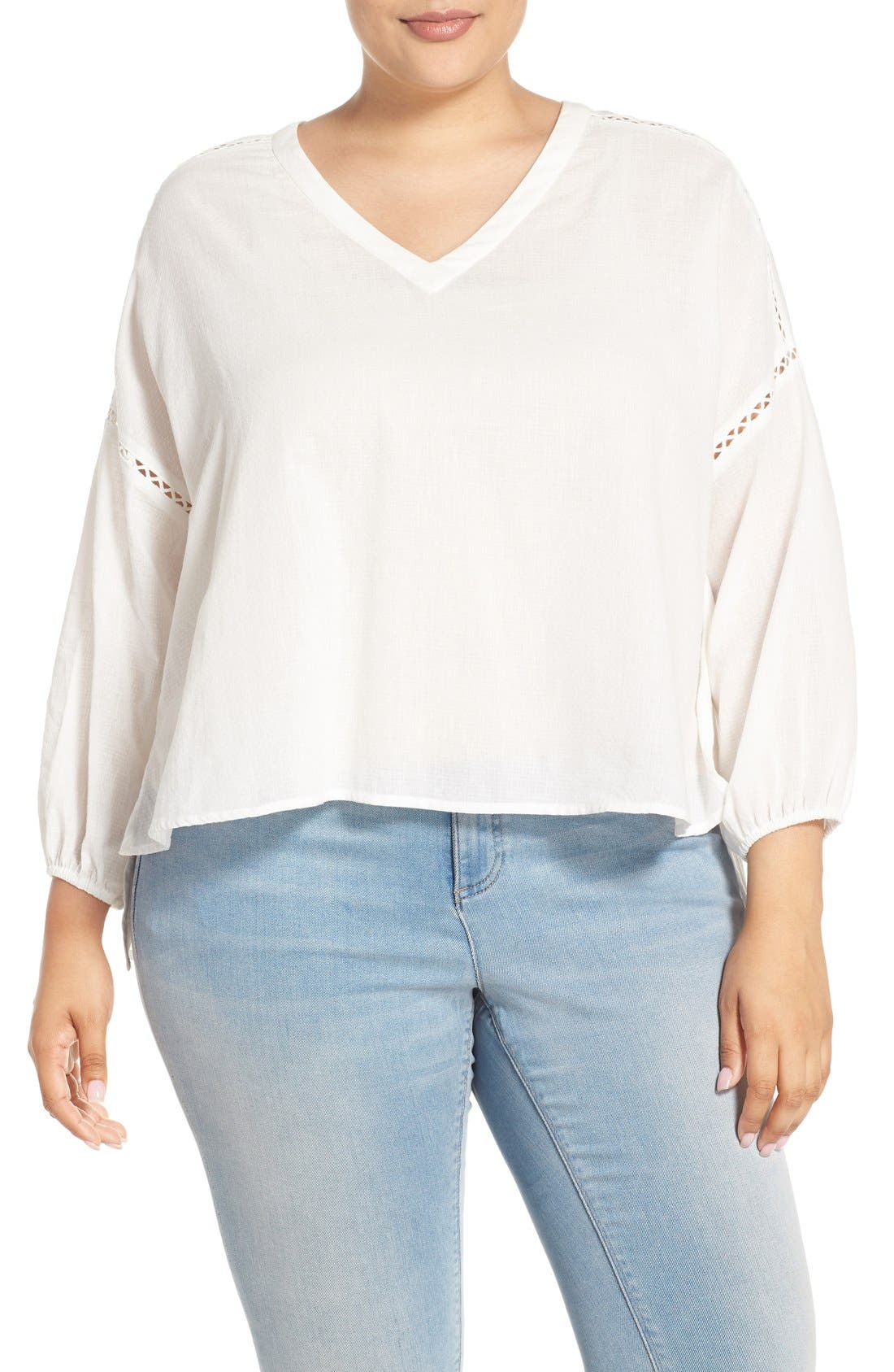 MELISSA MCCARTHY SEVEN7 Embroidered Inset Crop Blouse