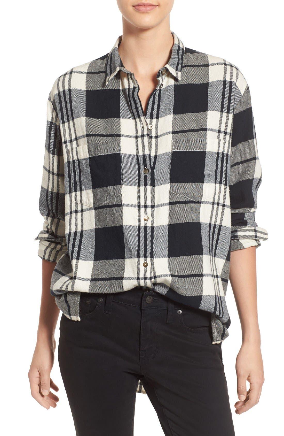 Main Image - Madewell 'Ex Boyfriend' Plaid Oversize Cotton Shirt