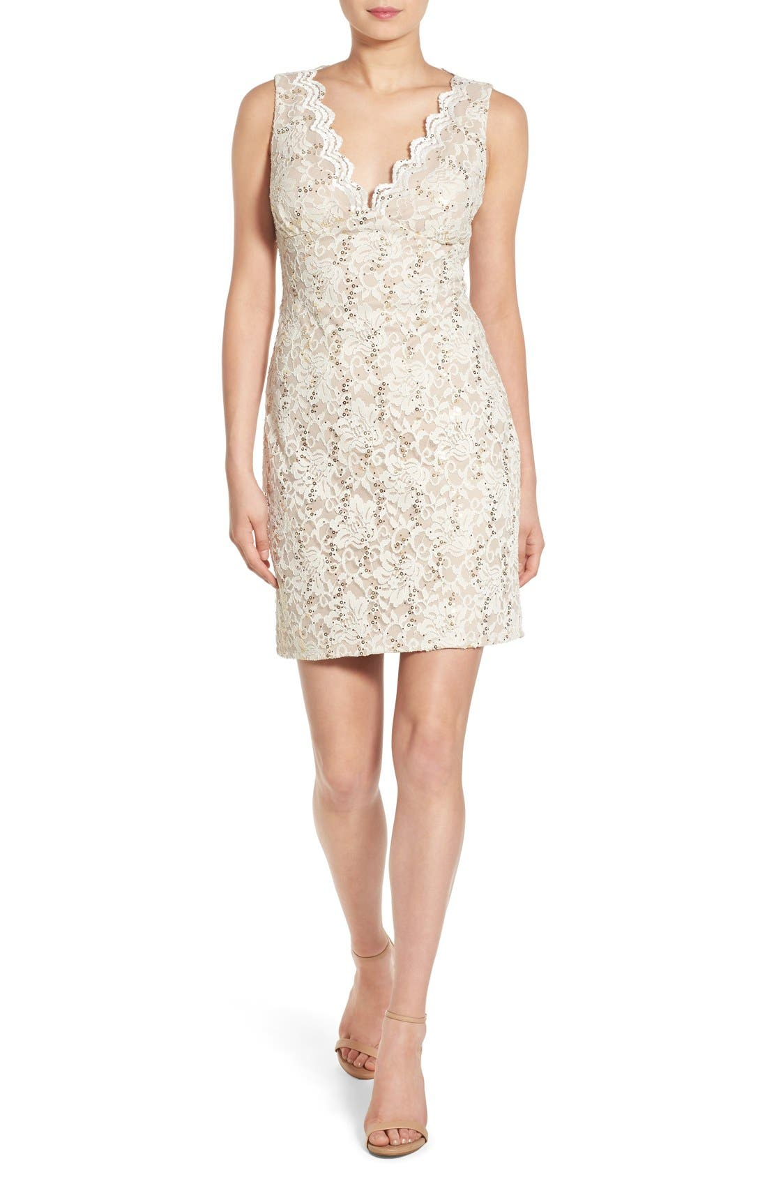 Alternate Image 1 Selected - Morgan & Co. Open Back Lace Dress