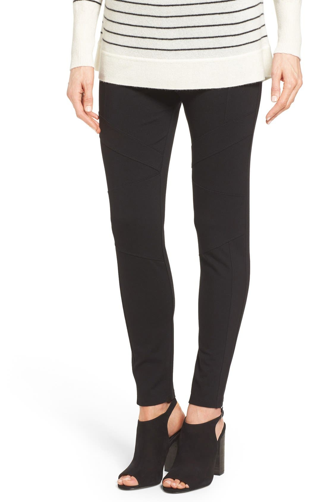 Alternate Image 1 Selected - Two by Vince Camuto Ponte Knit Moto Leggings