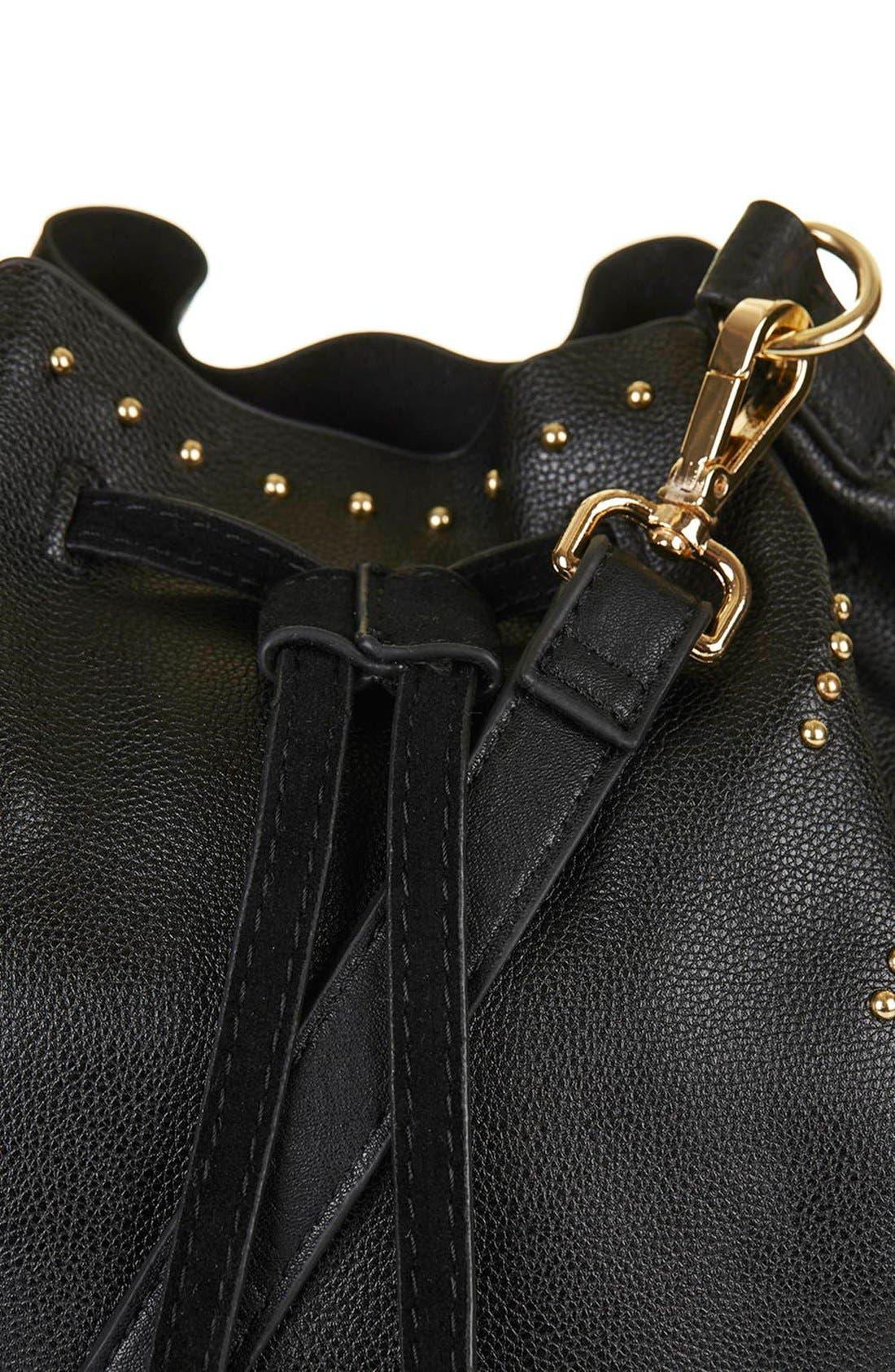 Alternate Image 5  - Topshop Drawstring Faux Leather Bucket Bag