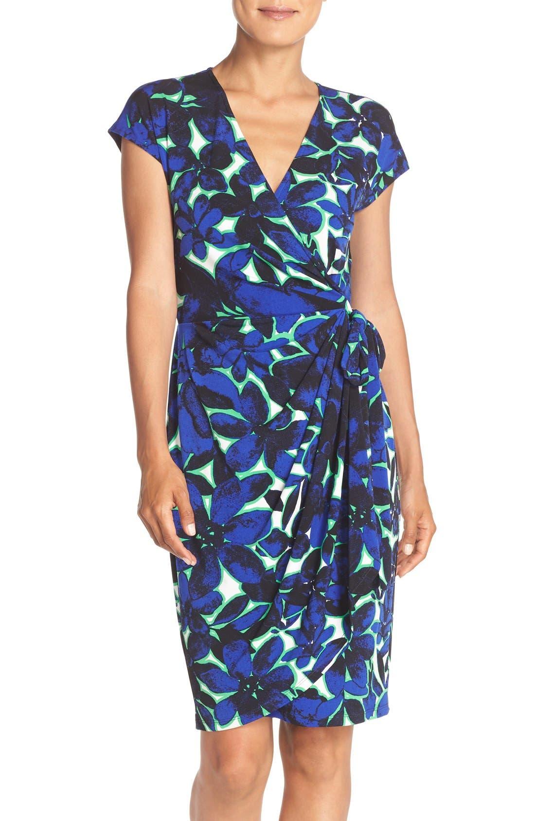Alternate Image 1 Selected - Maggy London Print Wrap Dress (Regular & Petite)