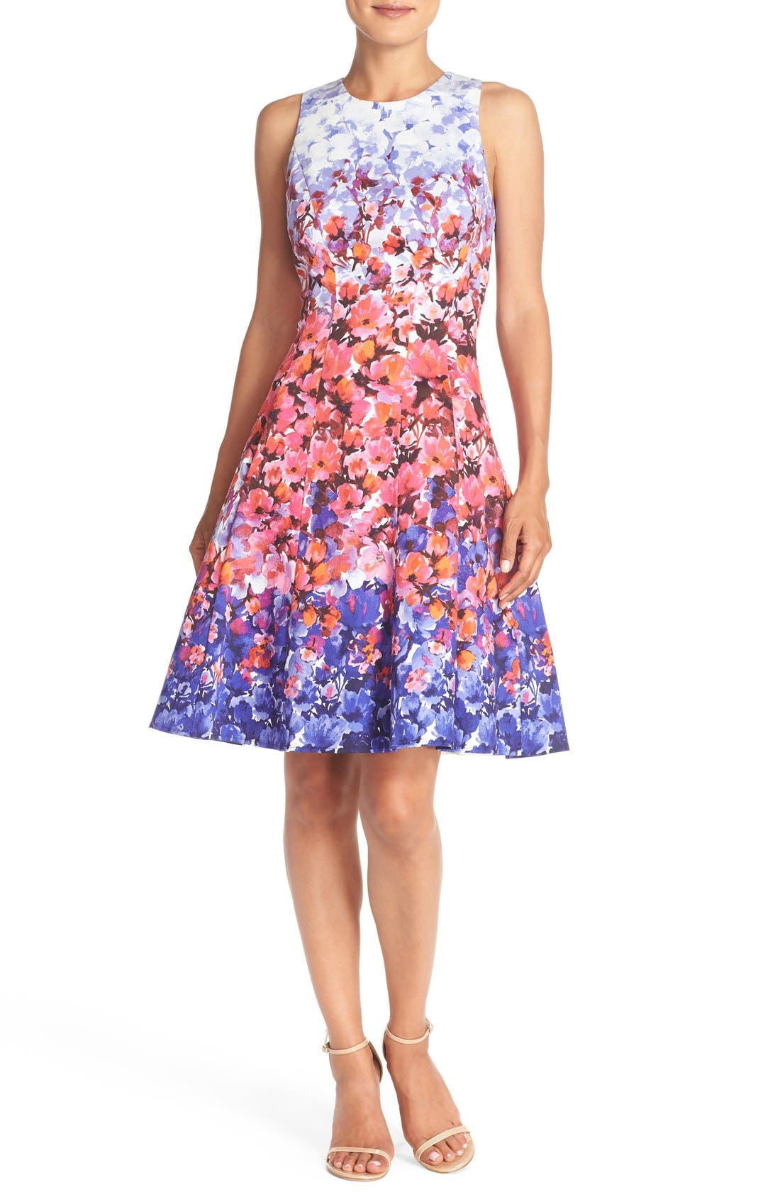 Alternate Image 4  - Maggy London Floral Print Sateen Fit & Flare Dress (Regular & Petite)