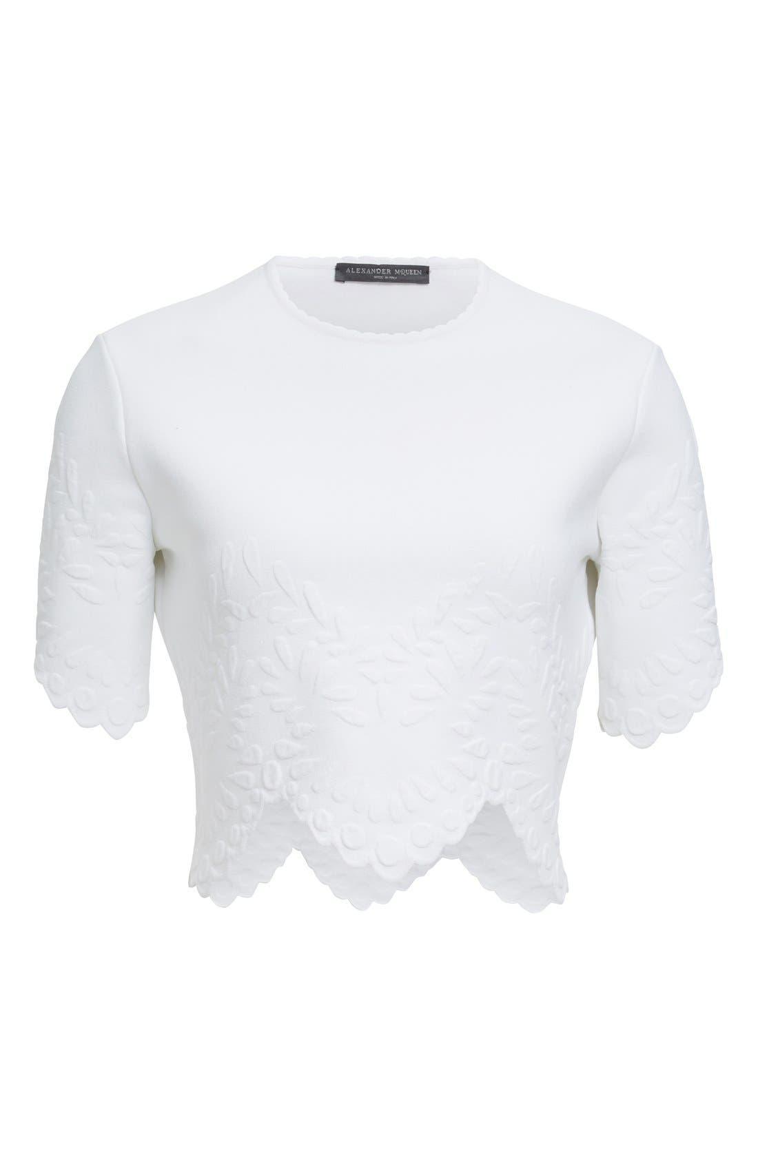 Alternate Image 4  - Alexander McQueen Embossed Jacquard Knit Crop Top