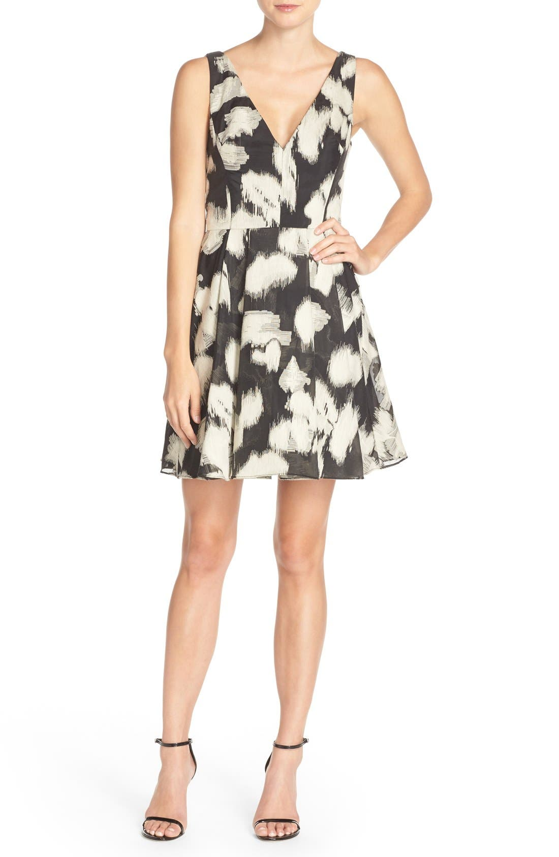 VERA WANG Jacquard Fit & Flare Dress