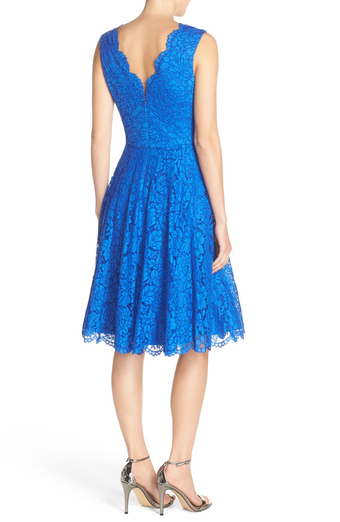 Alternate Image 2  - Vera Wang Lace Fit & Flare Dress