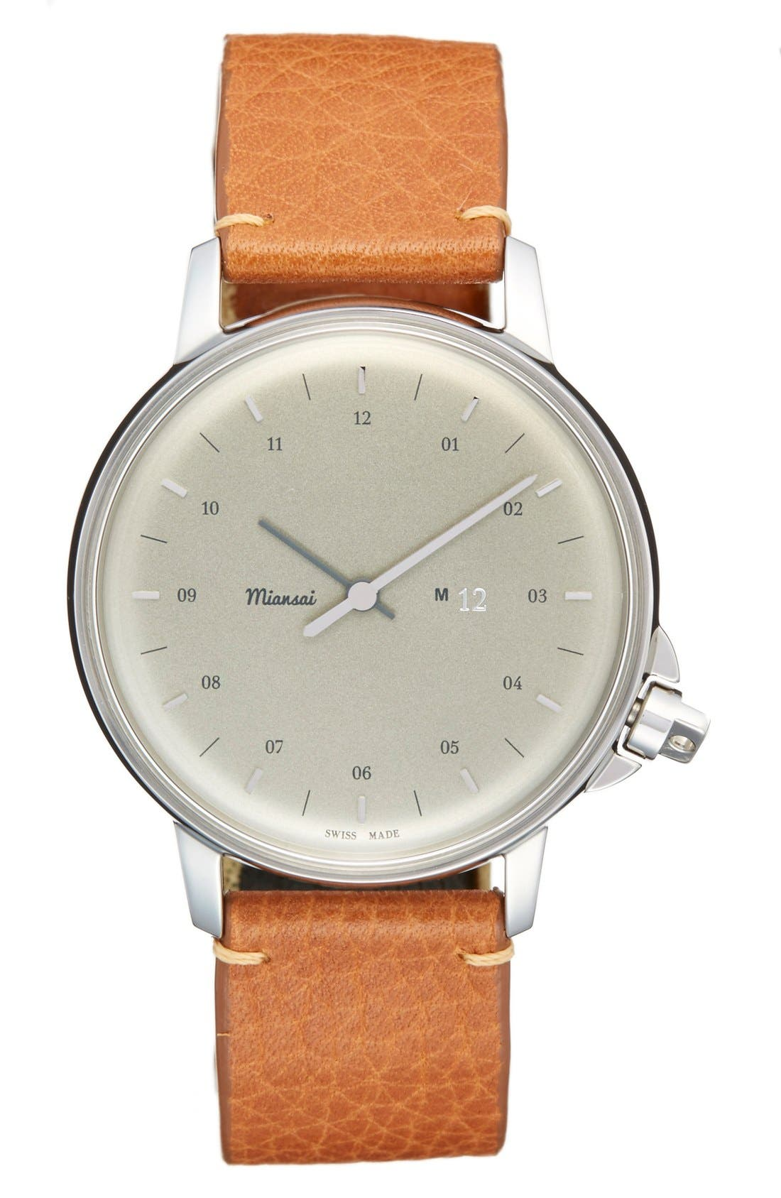 MIANSAI 'M12' Leather Strap Watch, 39mm