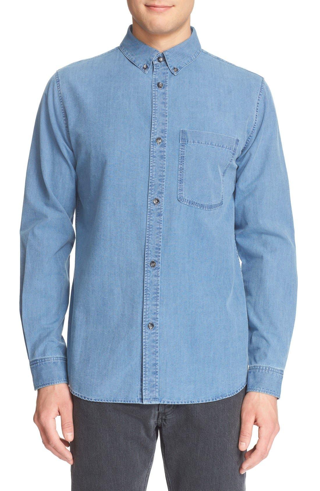 A.P.C. 'Clift' Long Sleeve Chambray Shirt