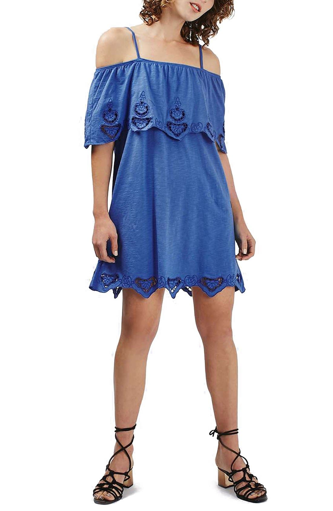Main Image - Topshop Cutwork Trim Strappy Sundress (Regular & Petite)