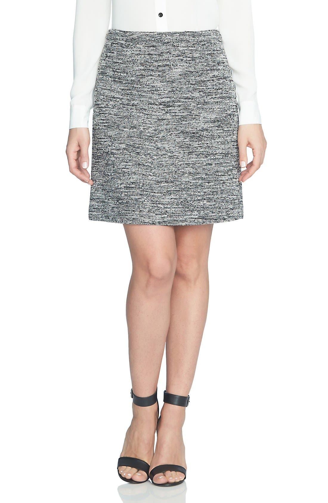 Main Image - CeCe Stretch Tweed Miniskirt