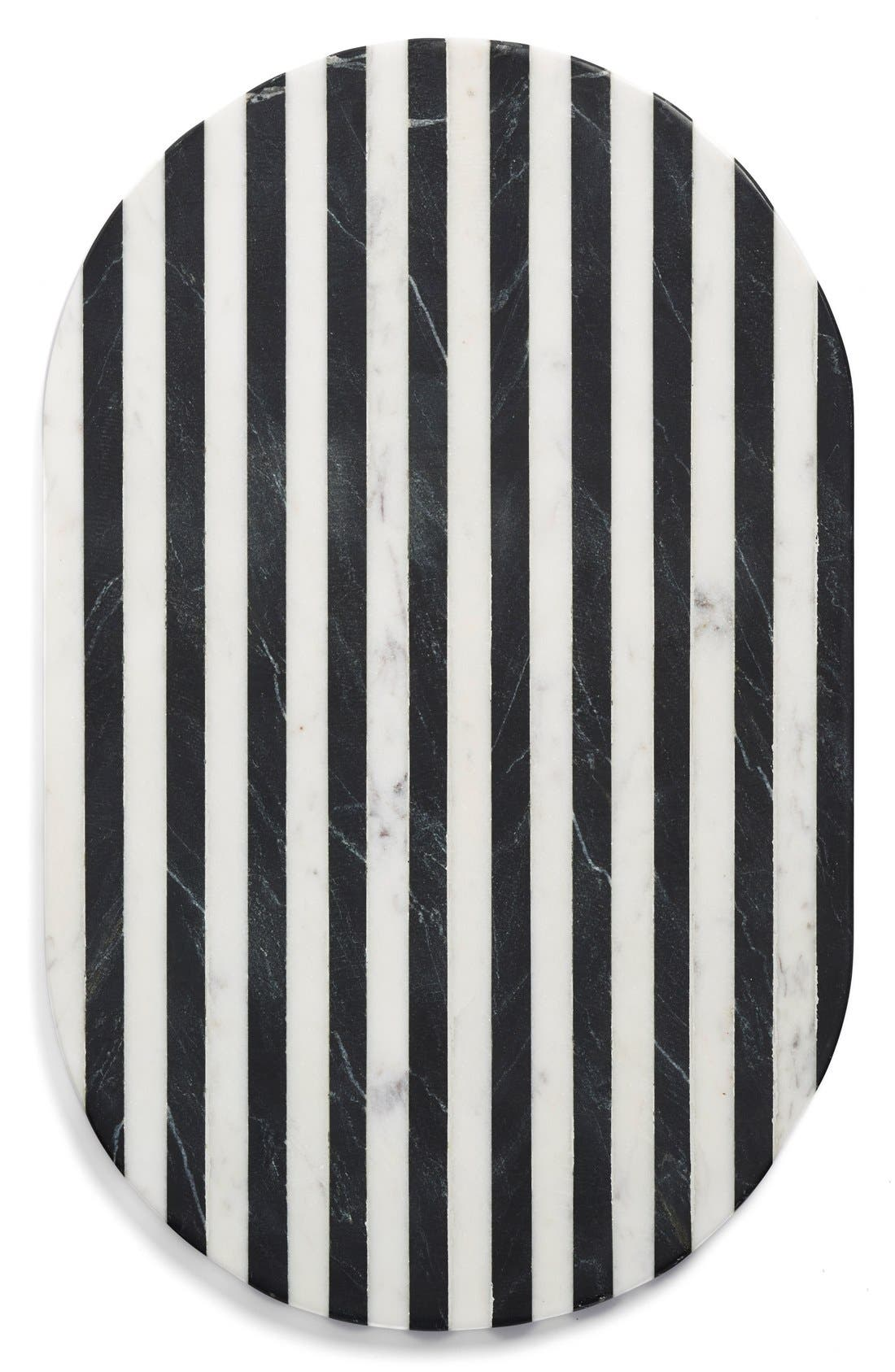 Thirstystone Black & White Oval Marble Serving Board