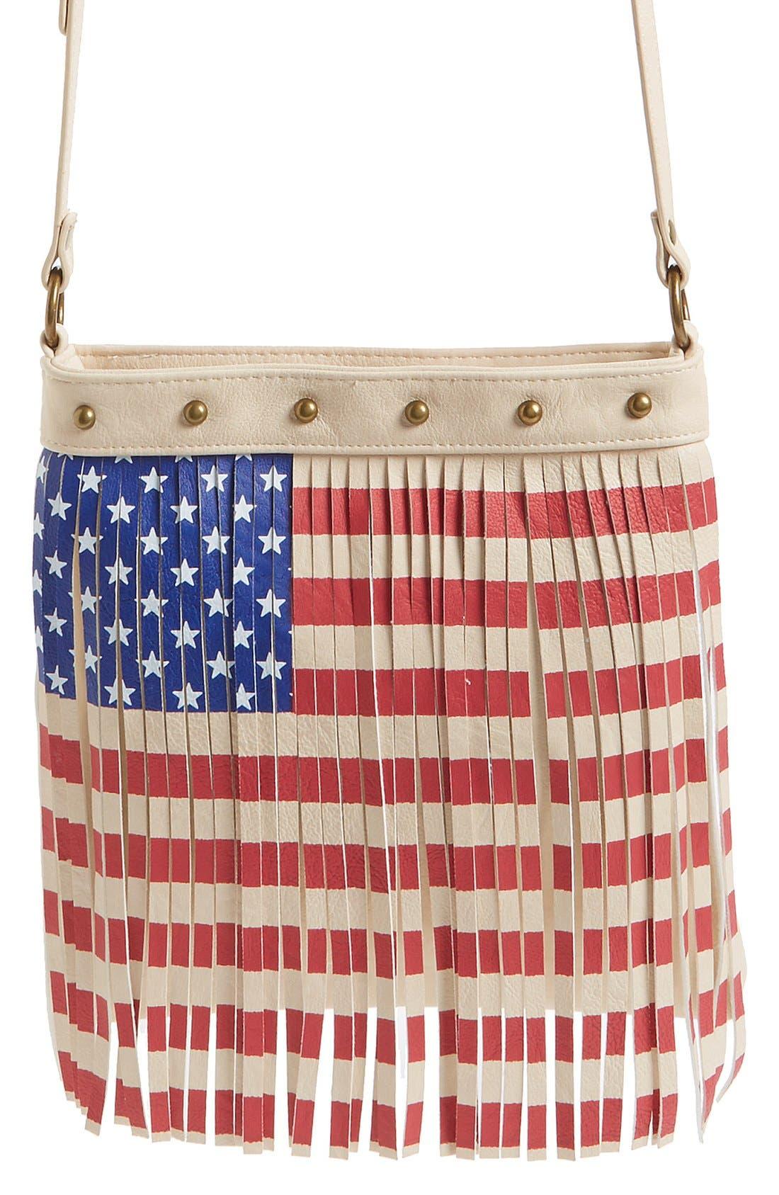 Alternate Image 1 Selected - Lulu Faux Leather Flag Crossbody Bag