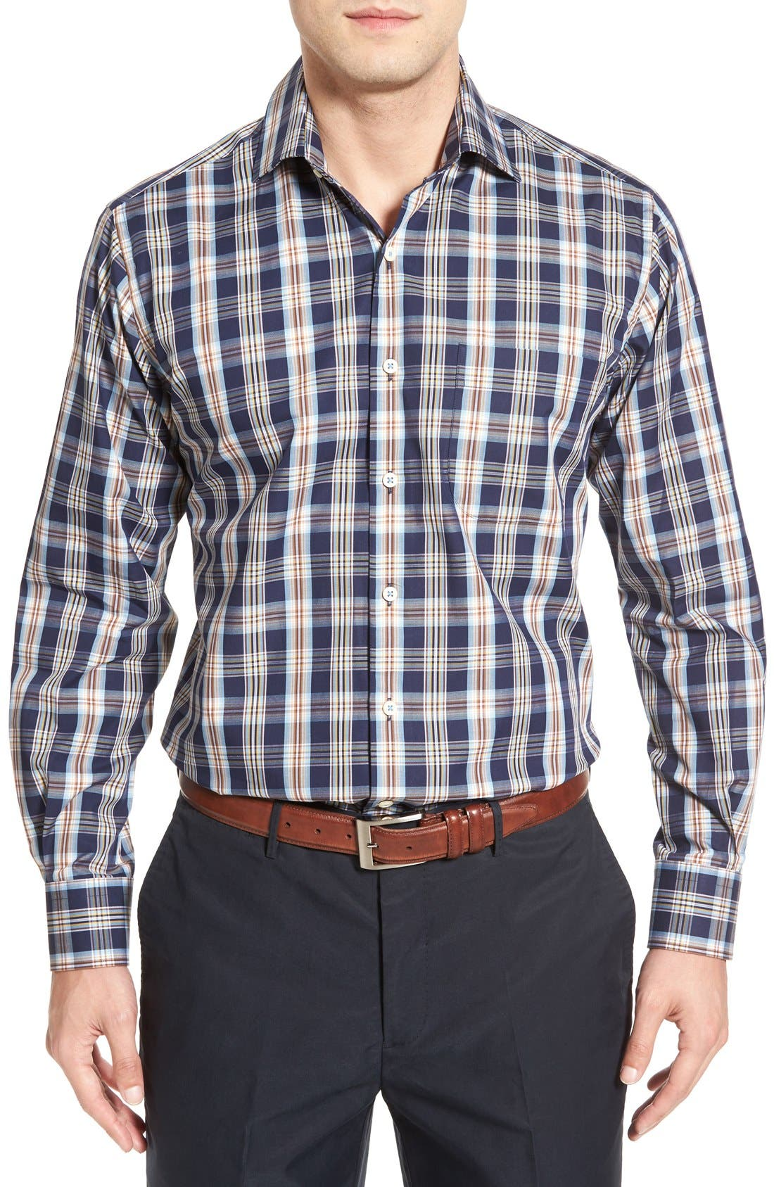 PETER MILLAR Regular Fit Plaid Sport Shirt
