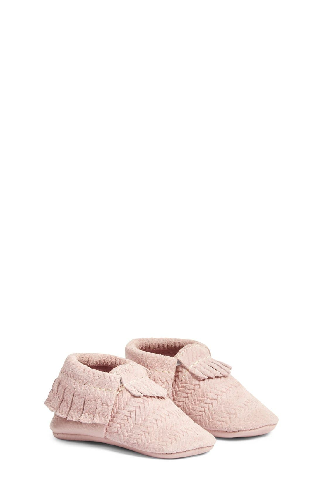 Freshly Picked 'Cardigan' Woven Leather Moccasin (Baby)