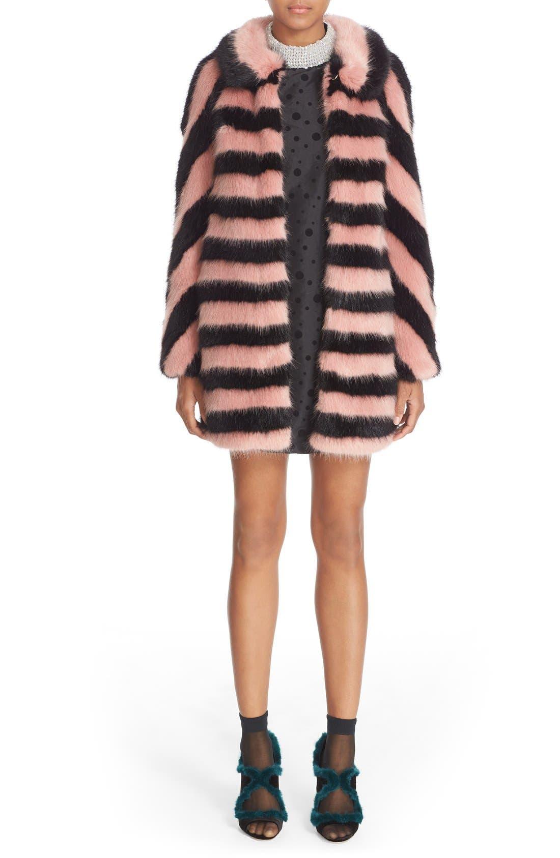 Alternate Image 7  - Shrimps 'Jean' Stripe Faux Fur Coat
