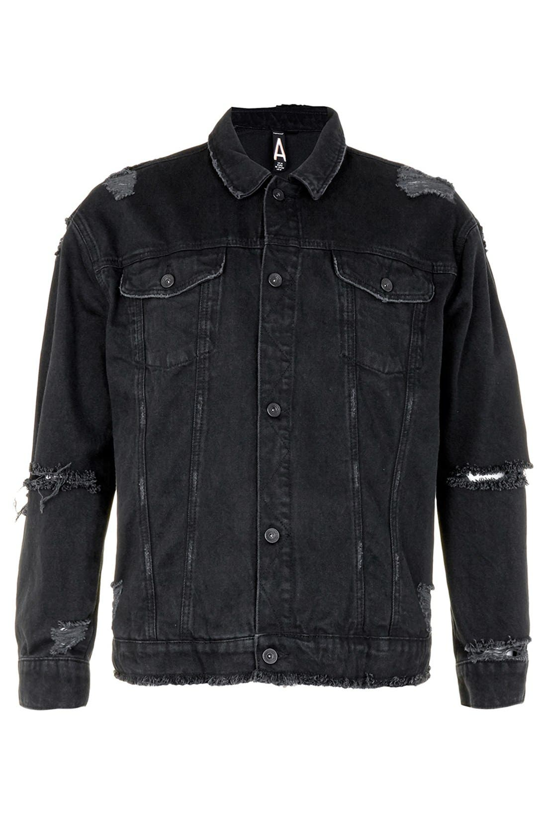 Alternate Image 5  - Topman AAA Collection Ripped Denim Jacket