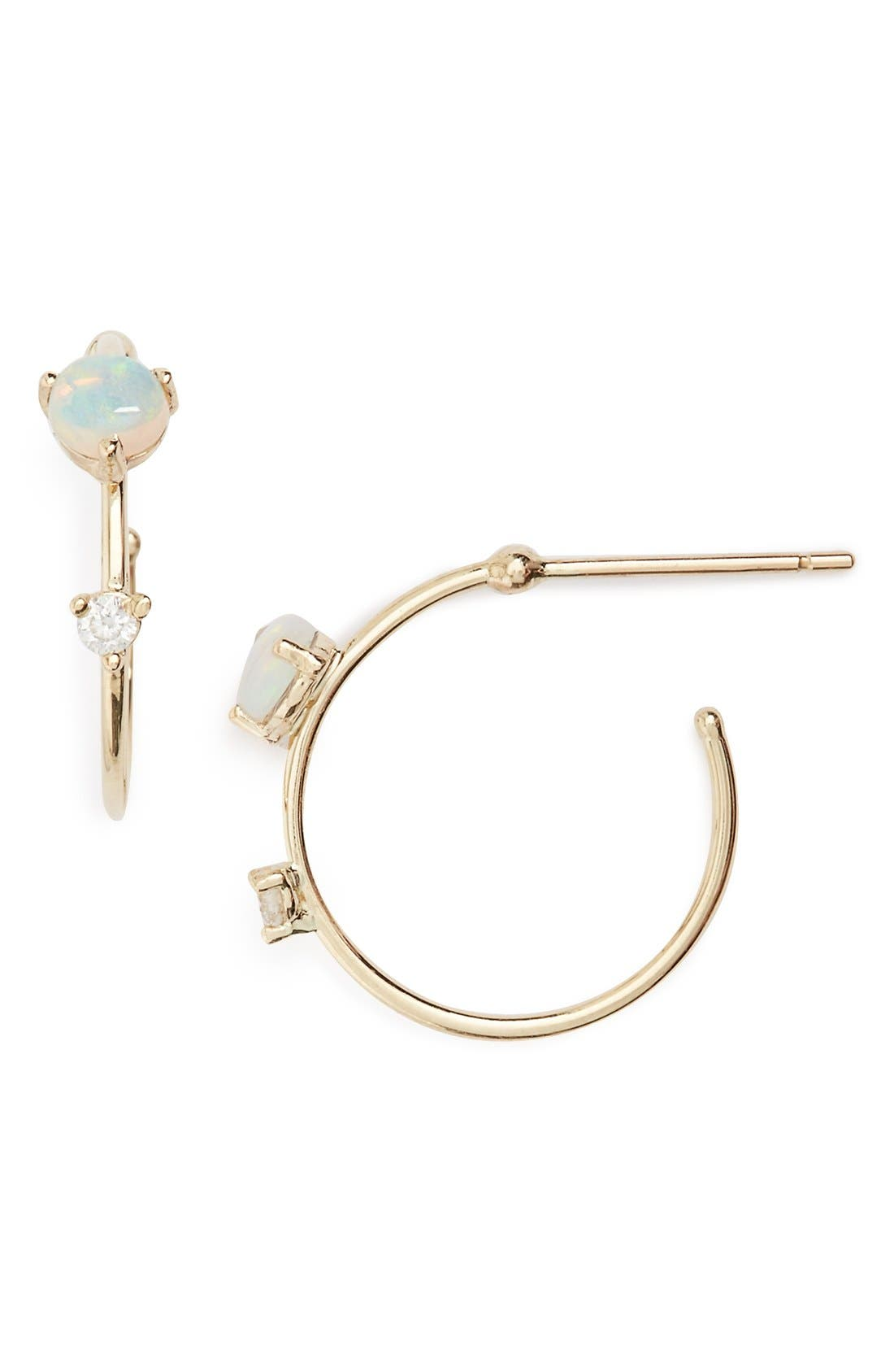 WWAKE 'Counting Collection - Small Two-Step' Opal & Diamond Hoop Earrings