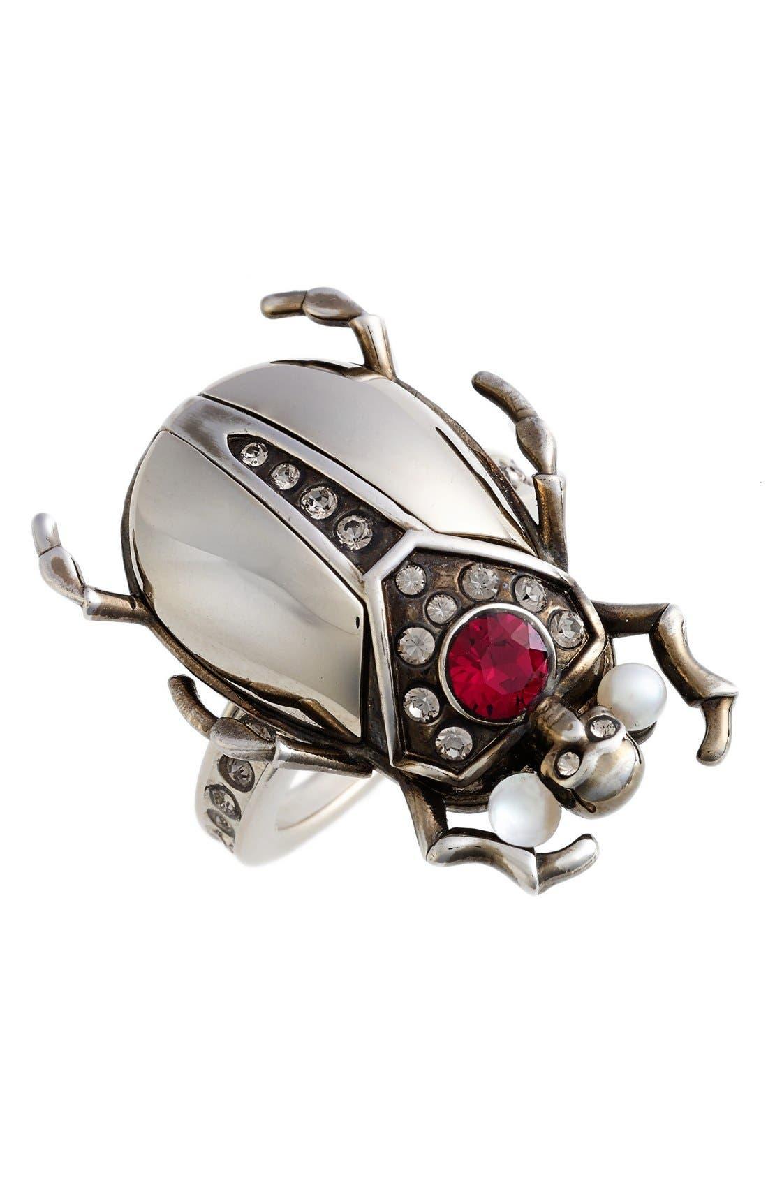 Alternate Image 1 Selected - Alexander McQueen Small Skull Beetle Ring