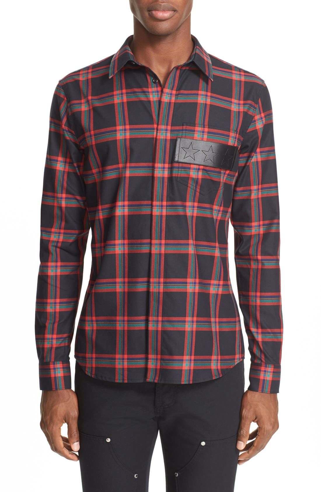 GIVENCHY Plaid Woven Shirt with Leather Trim
