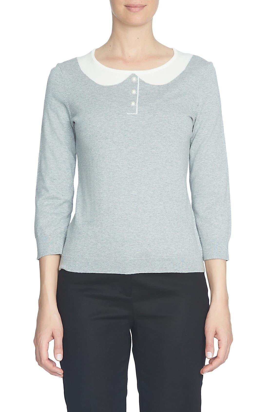 Alternate Image 1 Selected - CeCe Intarsia Collar Sweater