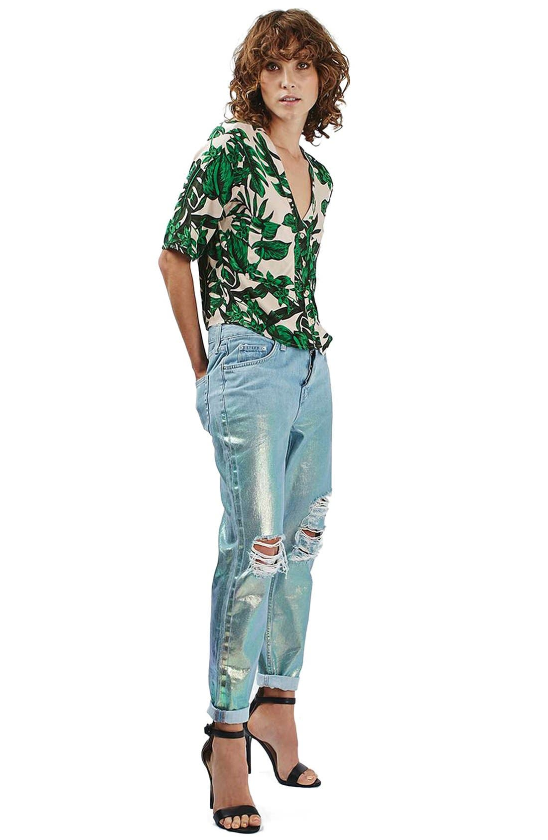 Alternate Image 2  - Topshop 'Holly' Tropical Print Short Sleeve Shirt