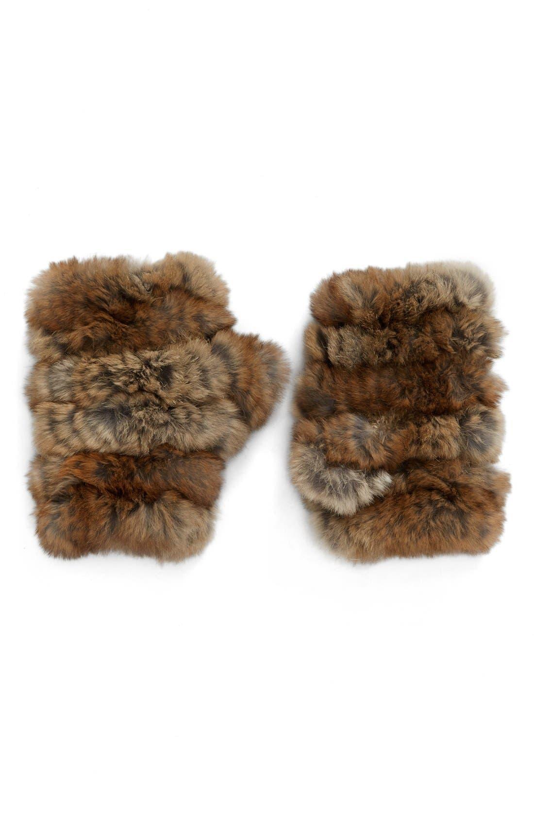 Main Image - Jocelyn Genuine Rabbit Fur Fingerless Mittens