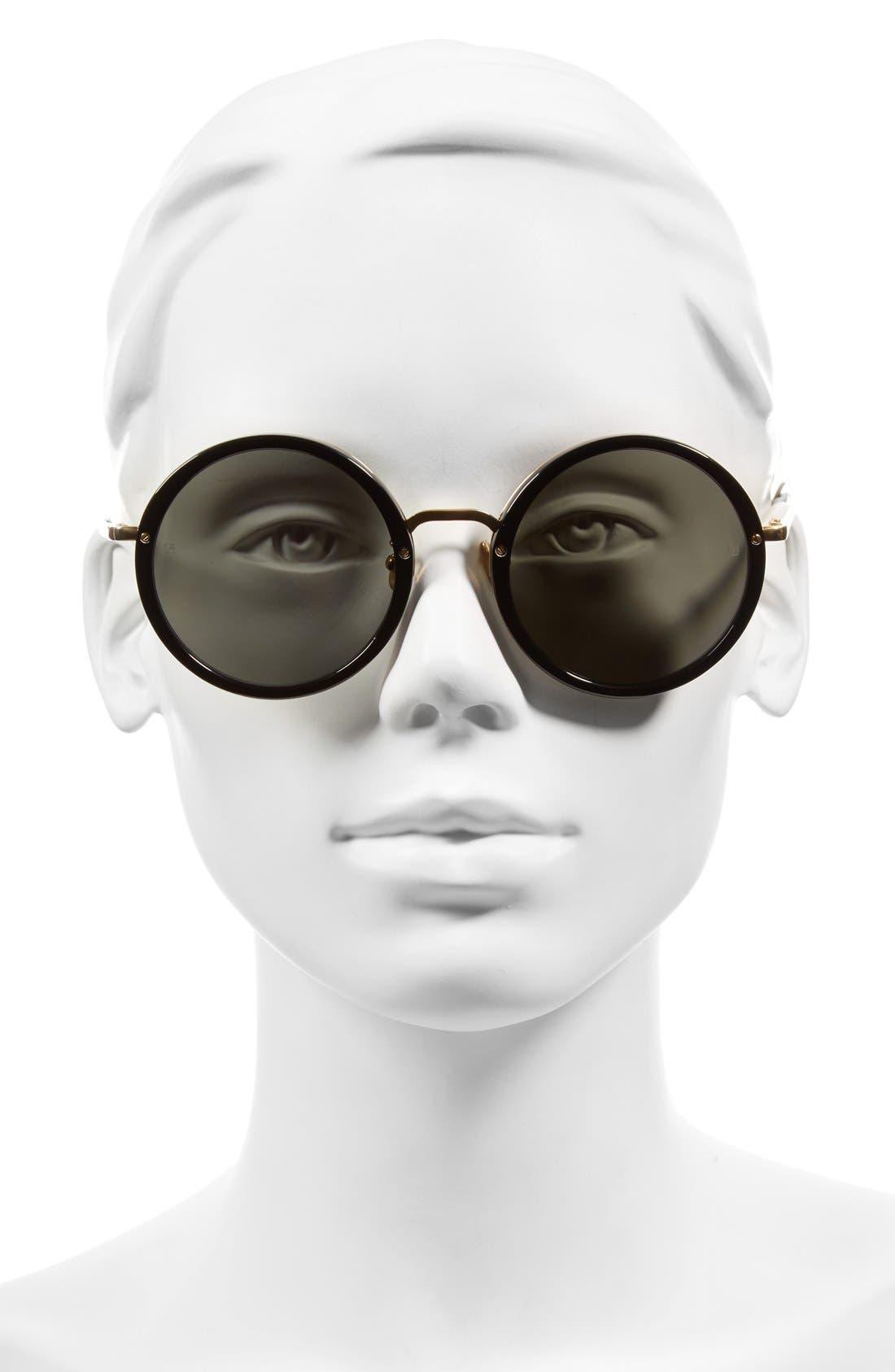 Alternate Image 2  - Linda Farrow 51mm Round 24 Karat Gold Trim Sunglasses
