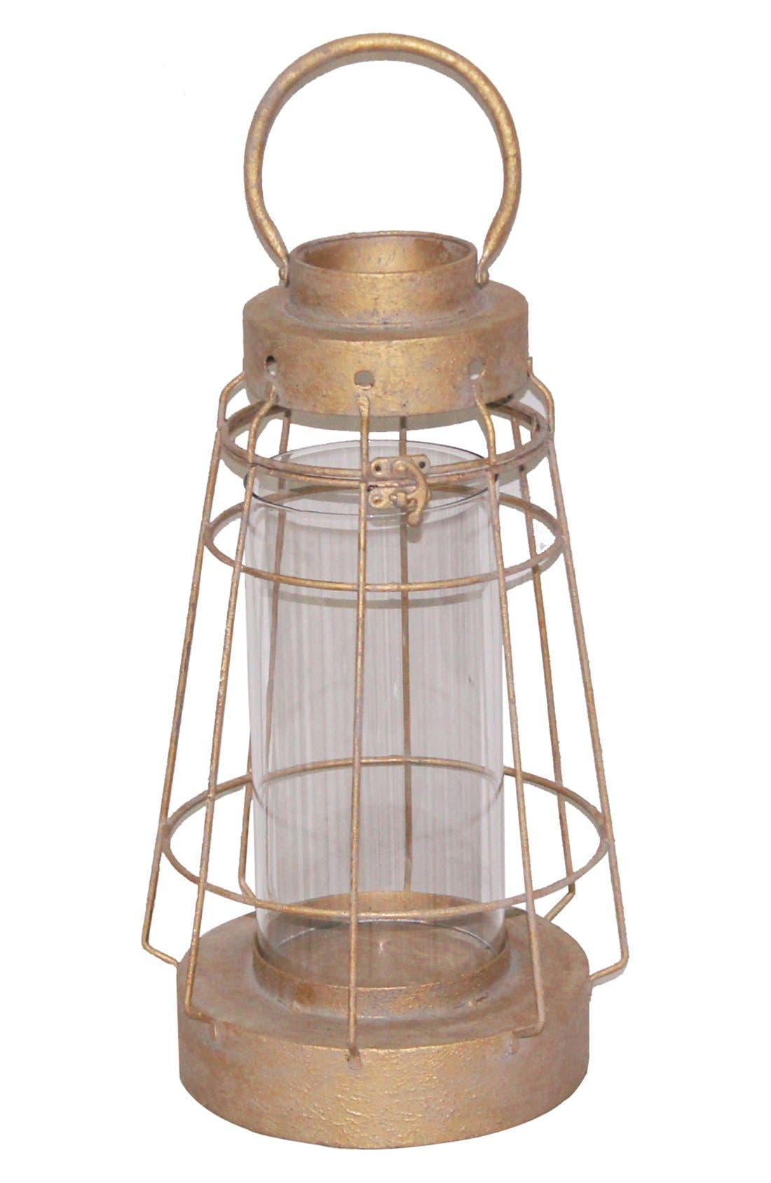 Creative Co-Op Wood & Metal Lantern Candle Holder