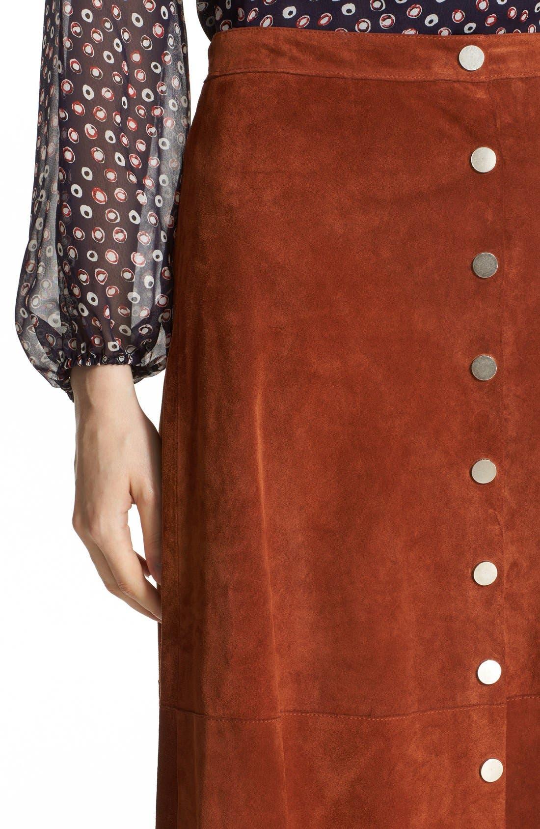 Alternate Image 5  - Diane von Furstenberg 'Gracelynn' Suede Midi Skirt