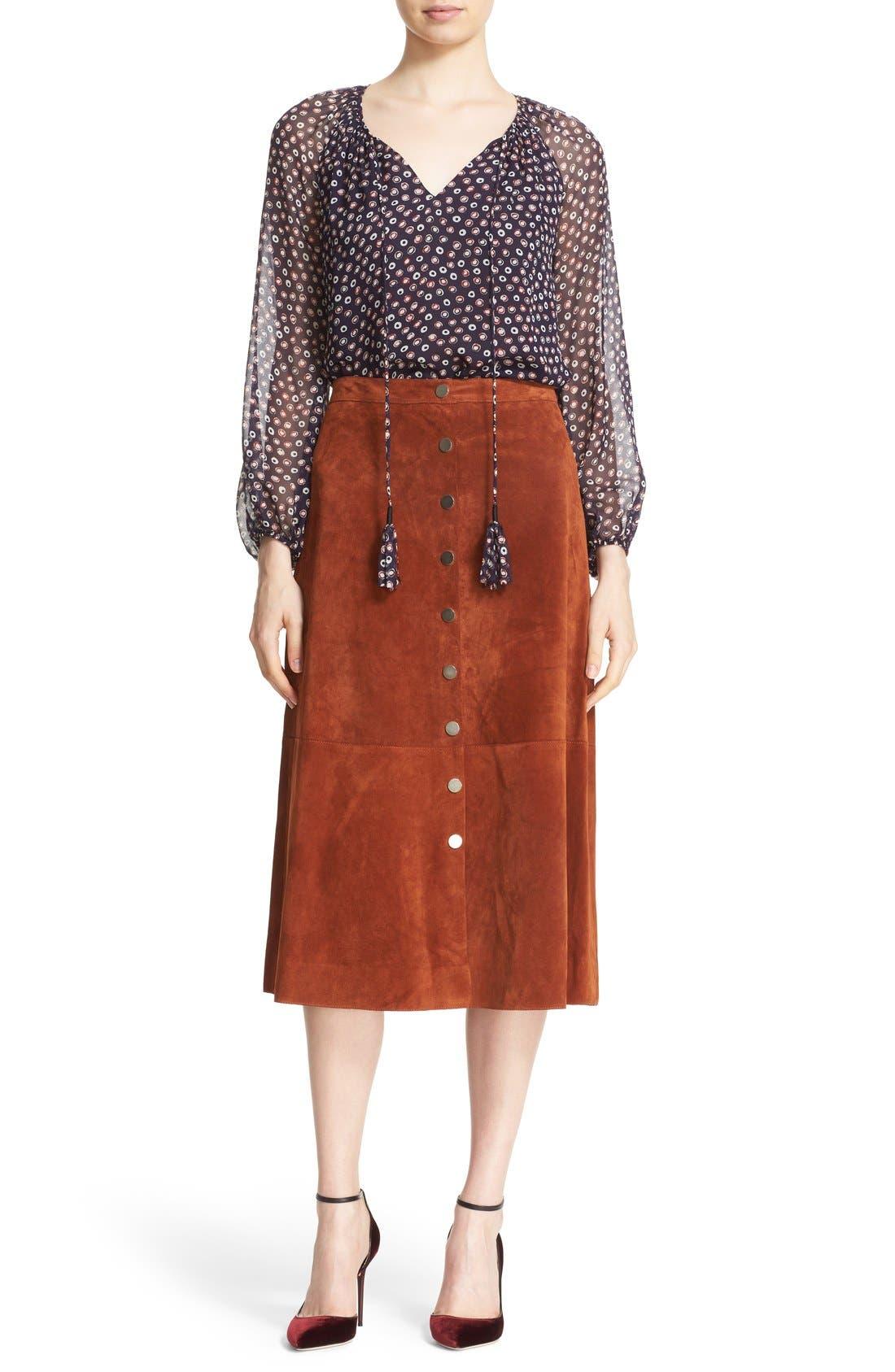 Alternate Image 2  - Diane von Furstenberg 'Gracelynn' Suede Midi Skirt